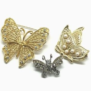 Brooches Pins Three 3 Butterfly Faux Pearl